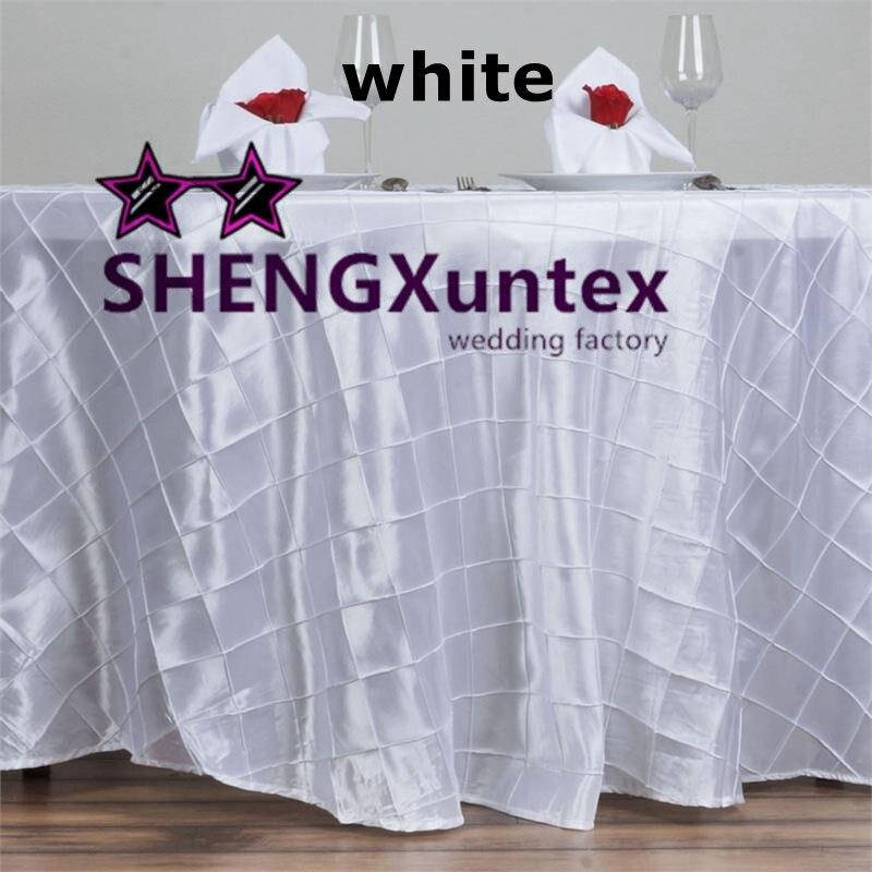 Cheap Price White Color Taffeta Pintuck Table Cloth ...