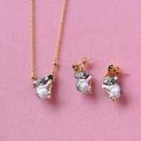 Franse Les Nereides Emaille Oorbel Ketting Koala Dier Mode Mooie Sieraden Sets Voor Vrouwen Luxe Party Sieraden