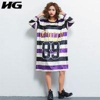 HG Autumn Striped Gold Velvet Plus Size Dress Print Letter Loose Big Size Sweater Dress T Shirt Dress Oversized Women XJ1827