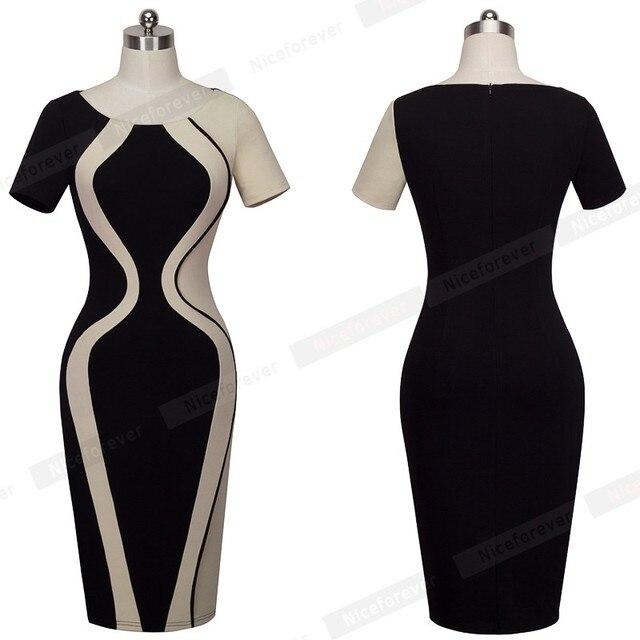 Patchwork Contrast Fashion Optional Illusion Round Neck Short Sleeve Vintage Summer Dress Lady Business Zipper Office Dress B315