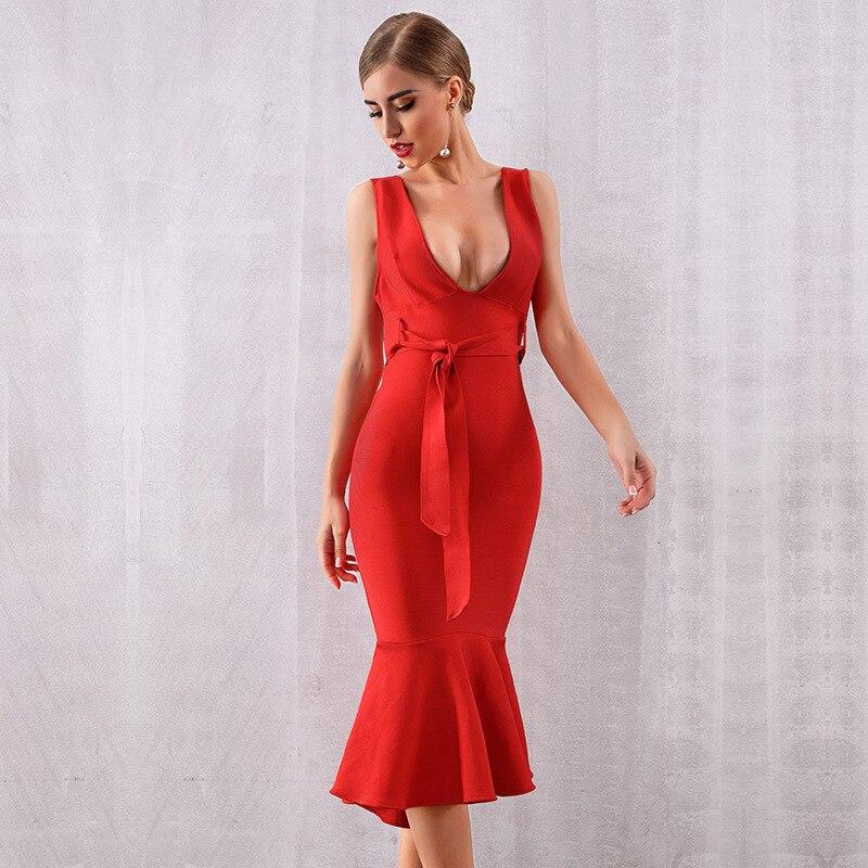 cd9e5d6c59a V Celebrity Gros Poitrine Femmes Mode Robe Sexy Bandage Sans En De Manches  Élégant Moulante Rouge ...