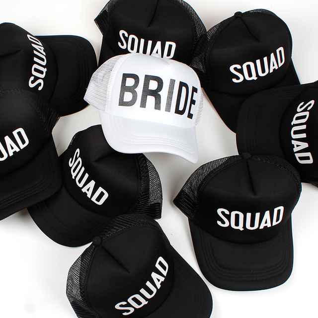 BRIDE SQUAD Hat Snapback Caps Hip Hop Branded Baseball Mesh Cap Wedding  Party Black Letter Adjustable 592426c23644