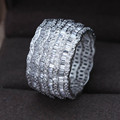 Luxury AAA cubic zirconia micro pave setting multi-layered clear stone full finger ring, brilliant ,party accessaries