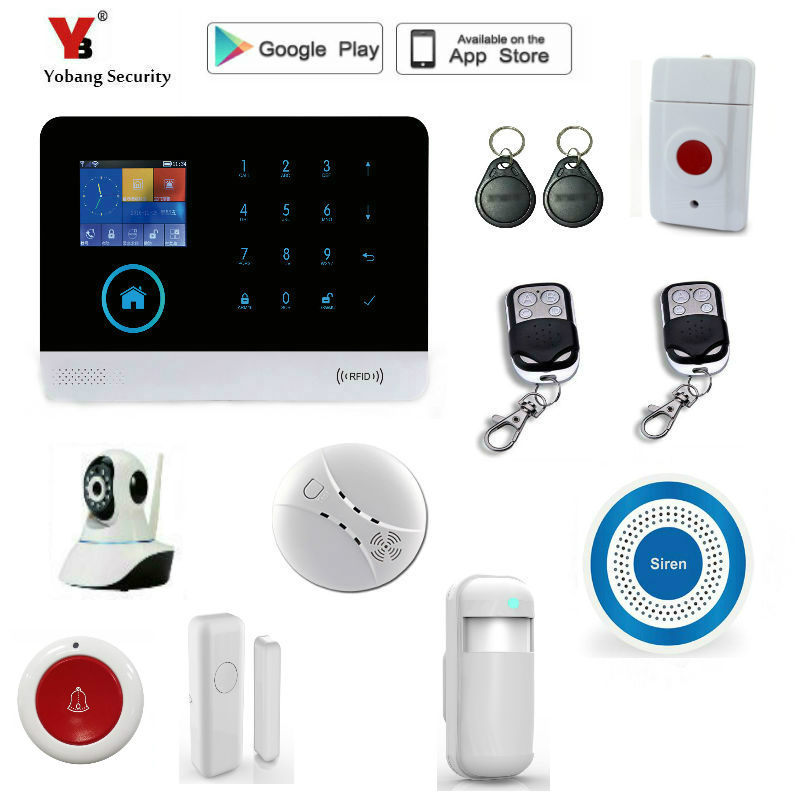 Yobang Security WIFI gsm alarm system Touch Keyboard IOS Android APP 433MHz Home Burglar Wifi/GSM/GPRS/SMS Alarm System king pigeon t4 direct factory gprs gsm emergency alarm telecare helper system sms for blood pressure monitor with android app