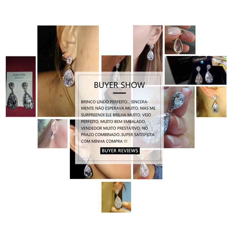 LUOTEEMI Elegantă formă de lacrimă alb CZ Stone Fashion Waterdrop - Bijuterii de moda - Fotografie 5