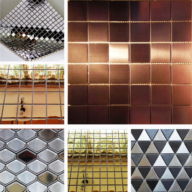 Stainless Steel Wire Drawing Rose Gold And Silver Mosaic Mirror