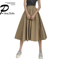 Women Fashion Summer high waist pleated skirt Joker high waist & large swing skirt folds Skirts Sexy student Solid Color Skirt