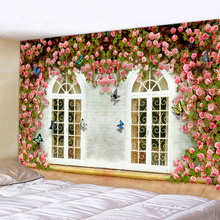 Flower Vine On The Window Print Wall Tapestry Cheap Hippie Wall Hanging Art Carpet Bohemian Decorative Living Room Big Blanket wall hanging art window ocean print tapestry