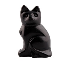 2.0inches Black obsidian Opal Natural Stone Carved Cat Figurine Carving Chakra Healing quartz Reiki Free Pouch