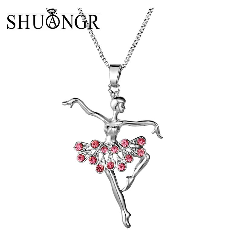 SHUANGR Modern Design Doll Necklace Long Chain Pendant Rhinestone Necklaces Women Girl Crystal Bag Statement Jewelry Fitting ...