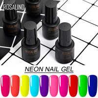ROSALIND UV Neon Nagel Gel Polish Set Für Maniküre 7ML Nägel Hybrid Lack Semi Permanent Gellak Soak off Primer basis Top Mantel