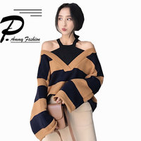 Women's Halter Off Shoulder Batwing Sleeve Plus Size Sweaters 2017 Autumn Winter Fake two Casual Baggy Loose knitting Tops