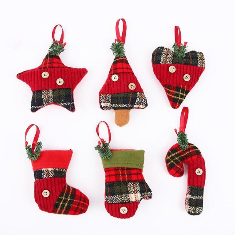 2018 Christmas Stockings Star Crutch Gloves Decorative Hanging Pendants Tree Ornaments Party Decor Christmas Navidad New Year