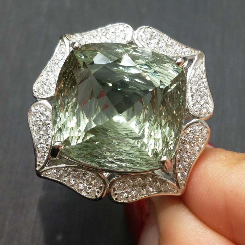 FLZB Supper hyperbole ring 22 0ct natural green amethyst gemstone in 925 sterling sliver with white
