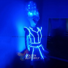 LED Dress Luminous Clothing Fashion Glowing Wedding Dress Clothes Luminous Headwear Short Skirt Suit Women Ballroom Dance Dress