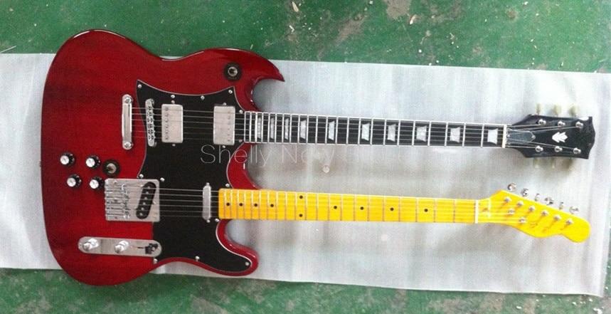 Shelly <b>new</b> store factory custom red double neck <b>guitar</b> ebony ...
