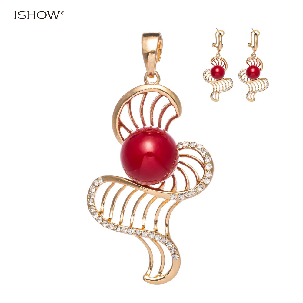 Fashion Simulated Pearl Jewelry Set Gold Silver Plated Earrings Necklace Set Crystal Wedding Accessories For Women free shipping