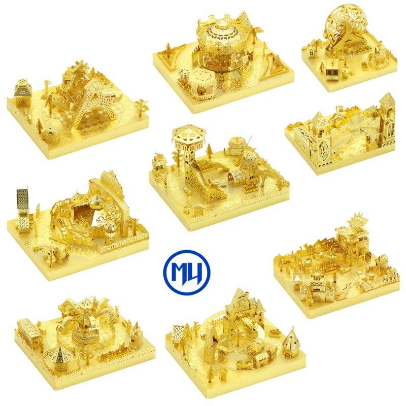 2018 MU 3D Metal Puzzle Playground building model DIY 3D Laser Cut Assemble Jigsaw Toys Desktop