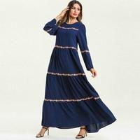Floral Embroidery Striped Long Sleeve Dress Women's Muslim Robe Big Swing Multilayer Comfortable Elegant Long Dresses TA7586