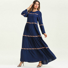 Floral Embroidery Striped Long Sleeve Dress Women's Muslim Robe Big Swing Multilayer Comfortable Elegant Long Dresses TA7586