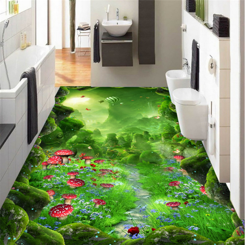 Large custom flooring original forest dream mushroom 3D floor painting bathroom home decoration photo wallpaper mural Beibehang beibehang custom photo floor painted