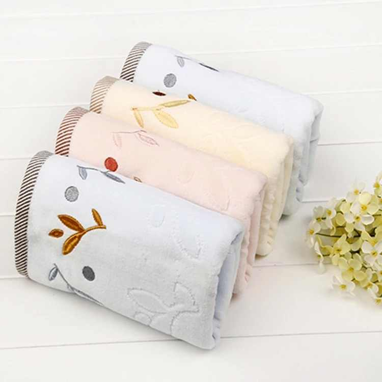 High quality  Towel 100% Pure Cotton Embroidery 35*75 cm Face Hair Hand Towels Face cloth 2 Sides Terry