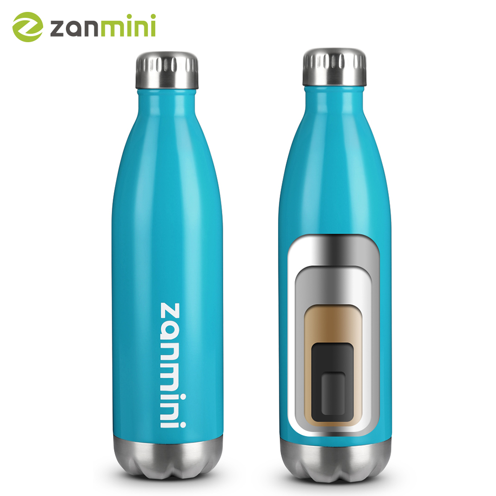 Zanmini Thermos Bottle, Stainless Steel Vacuum Insulated Water Bottle Leak-Proof Double Walled Cola Shape Bottle(China)