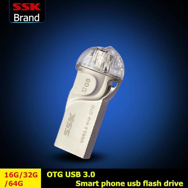 Ssk SFD255 OTG Usb Flash Drives teléfono inteligente Tablet PC Micro de almacenamiento externo 64 G 32 GB 16 G Pen Drive de memoria Usb Stick envío