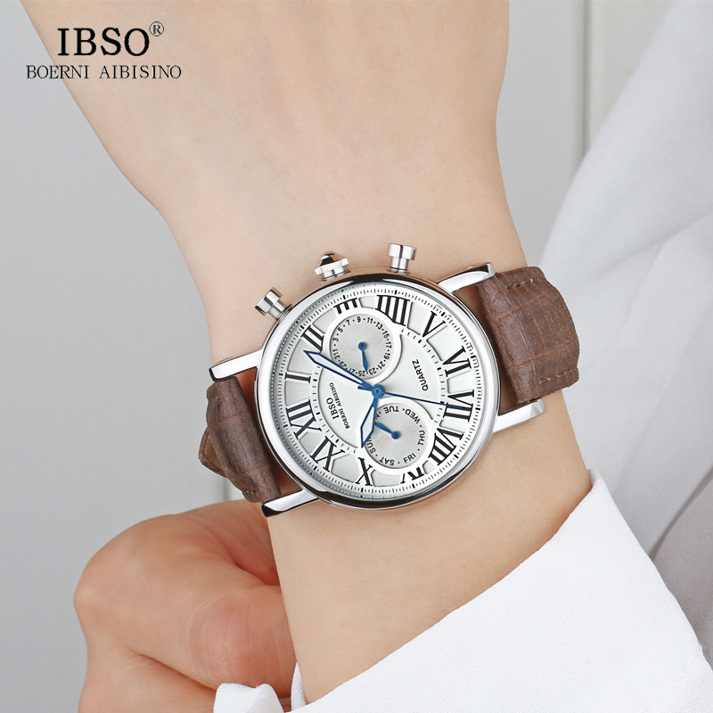 3420f9a3b8f1 IBSO Week Display Multifunction Watches Vogue Quartz Watch Men Business  Relogio Masculino Leather Band Relojes Masculino 6819-in Quartz Watches  from Watches ...