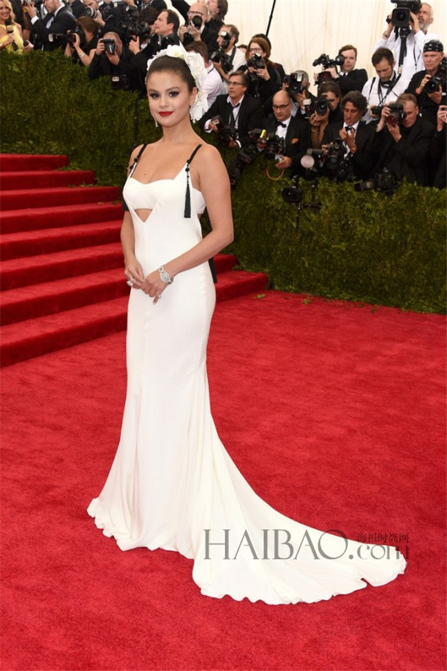 White Spandex Big Ass Spaghetti Strap Mermaid 2015 Famous Met Ball Red  Carpet Cheap Selena Gomez Sexy Evening Celebrity Dresses-in  Celebrity-Inspired ...