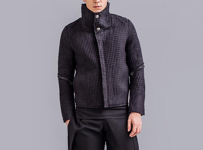 Hommes Texture Mode 2xl Nouvelle Noir Manteau Court Chaud Zipper Hiver M Épais Caractéristiques Yfb7g6yv
