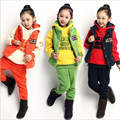 2017 New Style Sports Fashion Three-piece Suit Winter Girls Winter Clothing Set The Vest Three-pieces Suit Free Shipping Wear