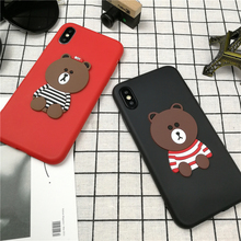 Cute Anime cartoon 3D Bear Couple Phone Cover Case For Iphone X 10 8 7 6 6s Plus color candy luxury Soft Silicone Coque Fundas