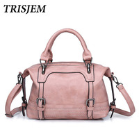 TRISJEM Women Vintage Bag Women's Leather Handbags Luxury Ladies Hand Bags Women Messenger Bag Tote Sac a Main Bolsos Mujer Pink