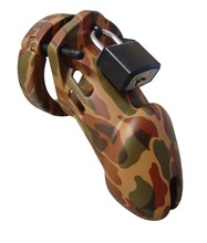 Camouflage chastity device cage for sissies or crossdressers