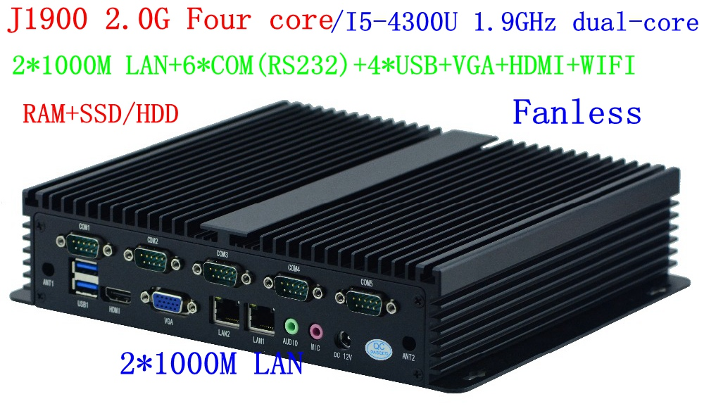 Low Power Fanless Industrial PC Intel Core I5 4300u J1900 Mini PC  HDMI VGA 2 LAN Wifi 6 COM 4 USB Widnows 7/8/10 LINUX