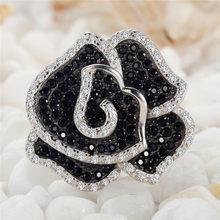 El nuevo producto Shinning 925 joyas de plata blanco y negro Cubic Zirconia anillo SSS–3789PLB tamaño #6 7 8 9 recomienda