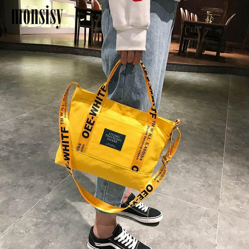 Monsisy Canvas Bag For Women 2020 Girl Handbag Tote Shoulder Bag Pocket Casual Girl Travel Shopping Messenger Bag Bolsa Feminina