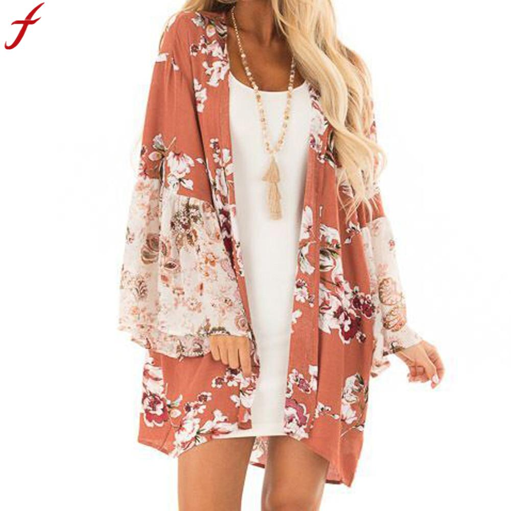 Blouse Woman Fashion 2019 Women Casual Floral Print Kimono Cardigan Long Shirt For Women Autumn Long Sleeve Shirt Blusa Feminina