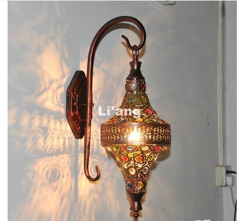 Free Shipping Decor Nordic Vintage Iron Crystal LED Wall Lamp Bohemian Bedroom Wall Lamp Tiffany Wall Lamp H53cm AC 90~260v