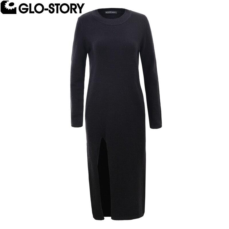 GLO-STORY 2018 Female Side Slit Midi Calf Autumn Fashion Long Dress Women Sexy Knitted Winter Casual Sweater Dress WMY-5635