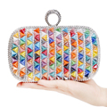 Rivet Ceramics Fashion Women Evening Bags Colorful Candy Beaded Wedding Party Handbags Finger Ring Diamonds Metal Evening Bag