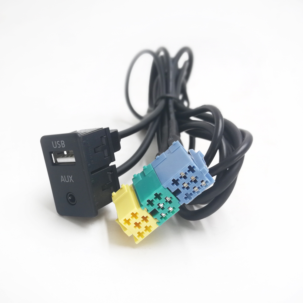 Biurlink Car Radio Extension AUX <font><b>USB</b></font> Cable Wiring <font><b>USB</b></font> AUX Switch For Hyundai Kia Sportage Akihabara image