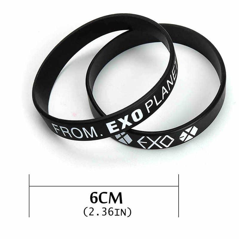1 Pcs Kpop EXO Album Ulang Tahun Gelang Olahraga Silikon Persahabatan Gelang Bangles Modis Aksesoris untuk Pria Wanita