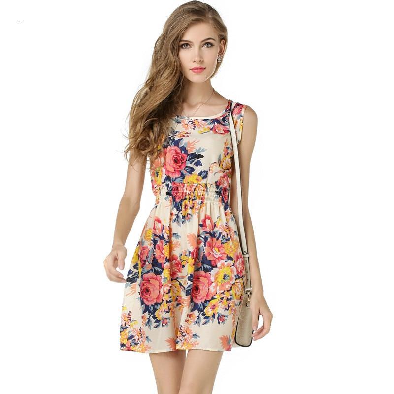 34f818e6d1f BomHCS 여름 드레스 여성 미니 쉬폰 Vestidos 식물 인쇄 미디 캐주얼 OL 드레스 Oneck 민소매 파티 드레스 F221QZ8