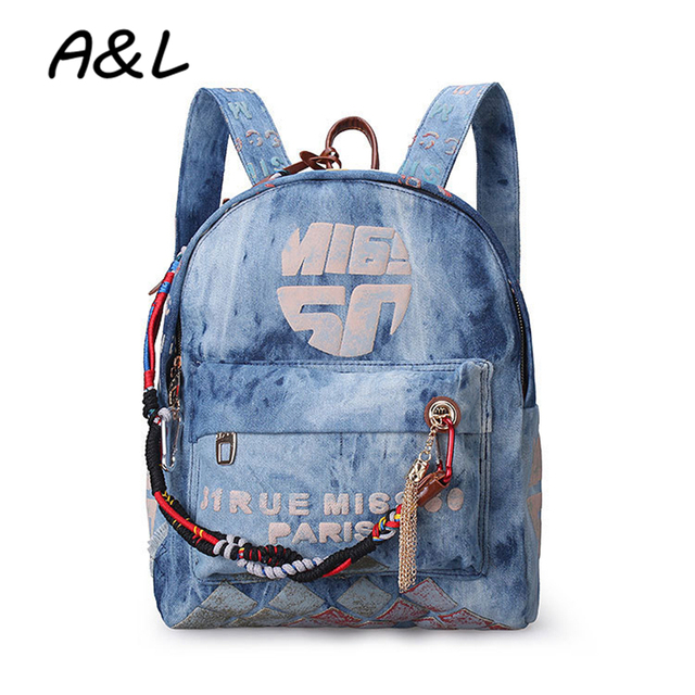 e95c4fd89a2 ... great quality c1fb7 6fae4 Women Backpack Bag Denim Backpacks Preppy  Rucksack Girls Casual Travel Canvas Jeans ...