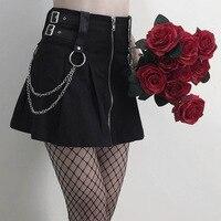 Black Harajuku Gothic Punk Women Skirts With Chain High Waist Zipper Fashion Pleated Mini Skirt For Goth Girls