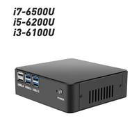 Настольный мини ПК Intel Core i7 6500U i5 6200U i3 6100U процессора Windows 10 DDR4 Оперативная память mSATA 4 К UHD HDMI VGA WiFi неттоп Minipc