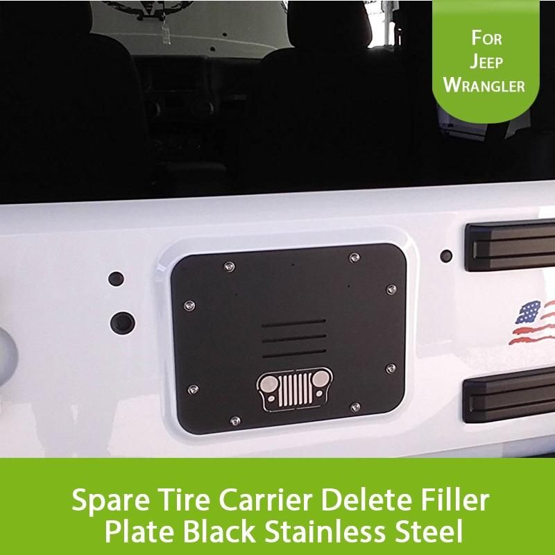 For 2007 2017 Jeep Wrangler JK JKU Spare Tire Carrier Delete Filler Plate Tramp Stamp Black