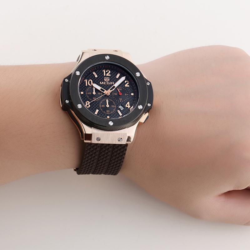 MEGIR Men's Sport Watches Silicone Quartz Military Army Waterproof Wristwatch Men Clock Sub-dial Function Relogio Masculino